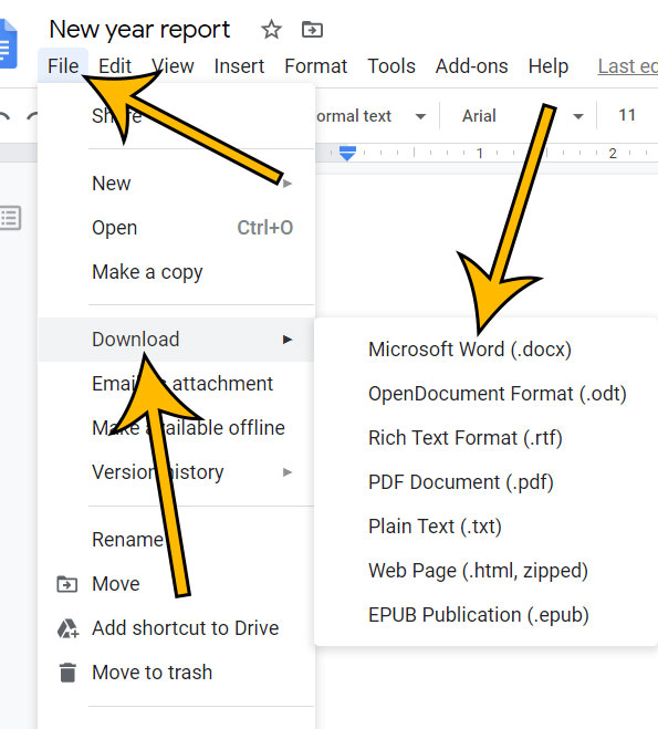 how to download Google Docs as Word