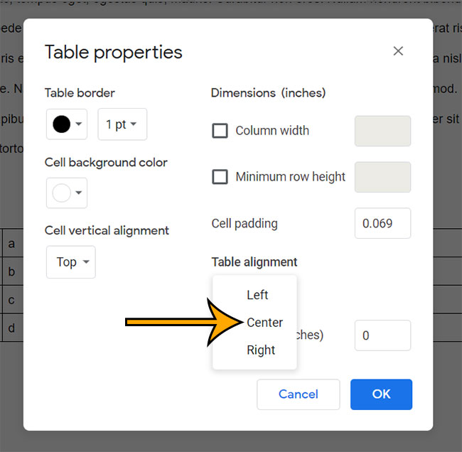 how to center a table in Google Docs