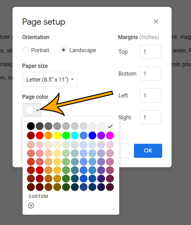 how to change the page color in Google Docs