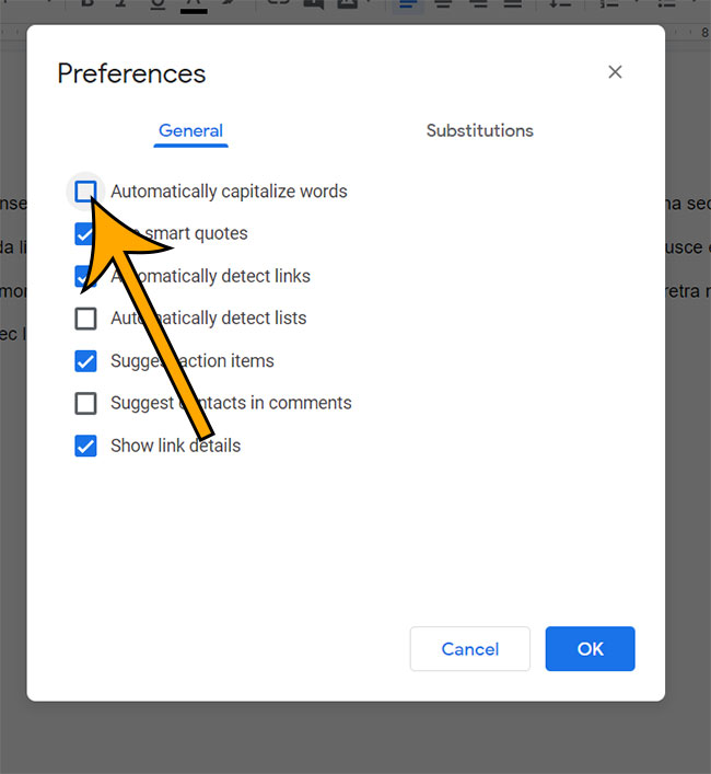 how to disable auto capitalize in Google Docs