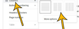 how to make Google Docs two columns