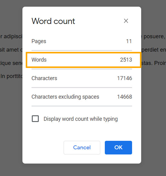 how to view word count in Google Docs