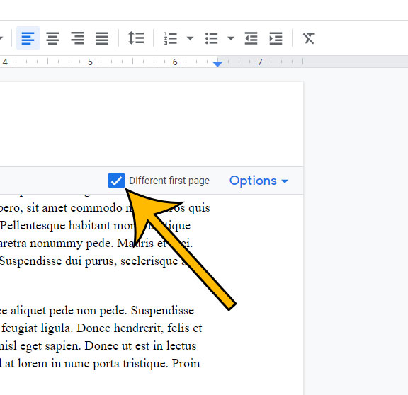 how to remove page numbers from the first page in Google Docs