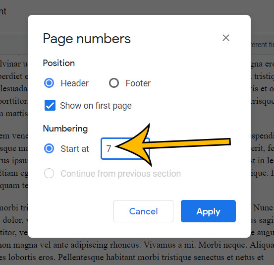 how to change first page number in Google Docs