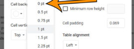 how to delete the table border in Google Docs