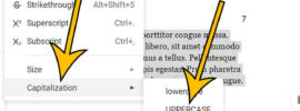 how to make a selection uppercase in Google Docs
