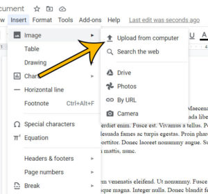 how to put an image into Google Docs