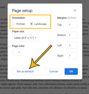 how to set the default page orientation in Google Docs