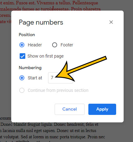 how to change starting page number in Google Docs