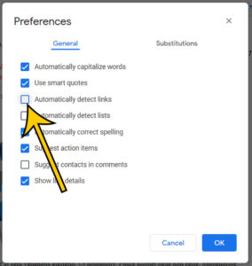 how to disable automatic hyperlinks in Google Docs
