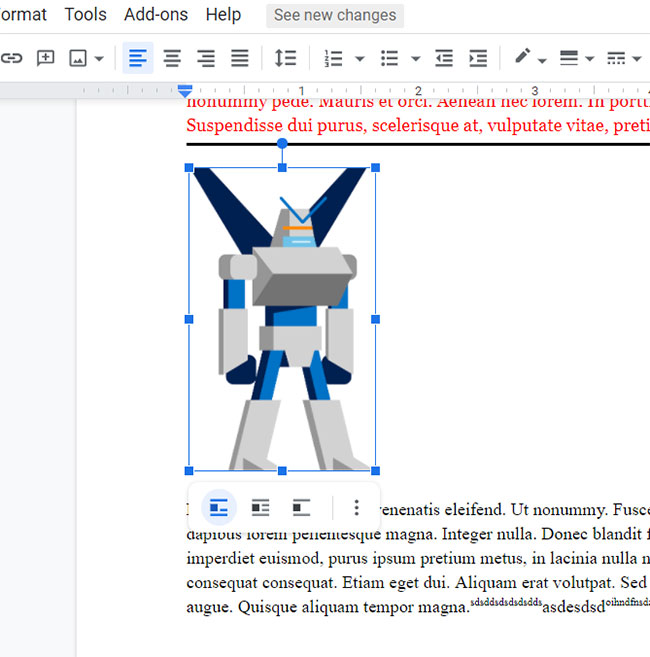 how to delete a picture in Google Docs