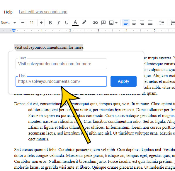 how to link to a website from Google Docs