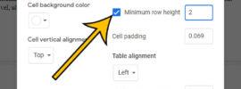 choose the Google Docs table minimum row height
