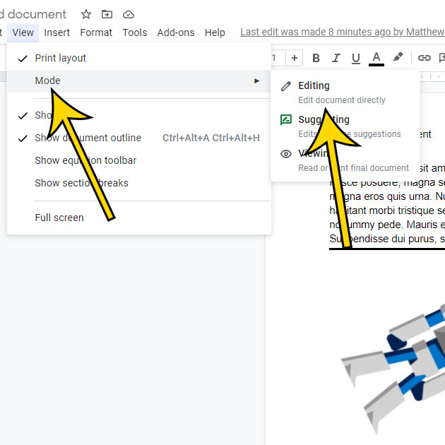 why is there a green box when editing in Google Docs?
