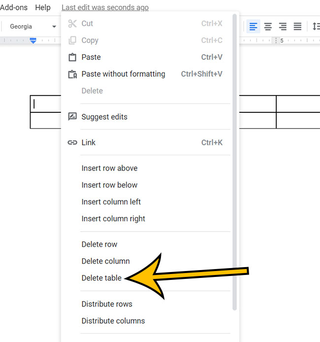 how to delete a Google Docs table